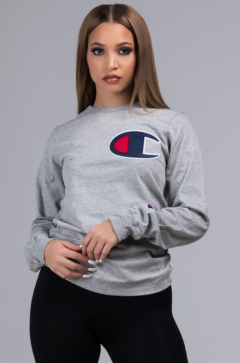 Front View Champion Unisex Heritage Long Sleeve Tee With Large C Logo In Oxford Grey Champion Clothing Zumiez Outfits Logo Tees Outfit [ 1209 x 800 Pixel ]