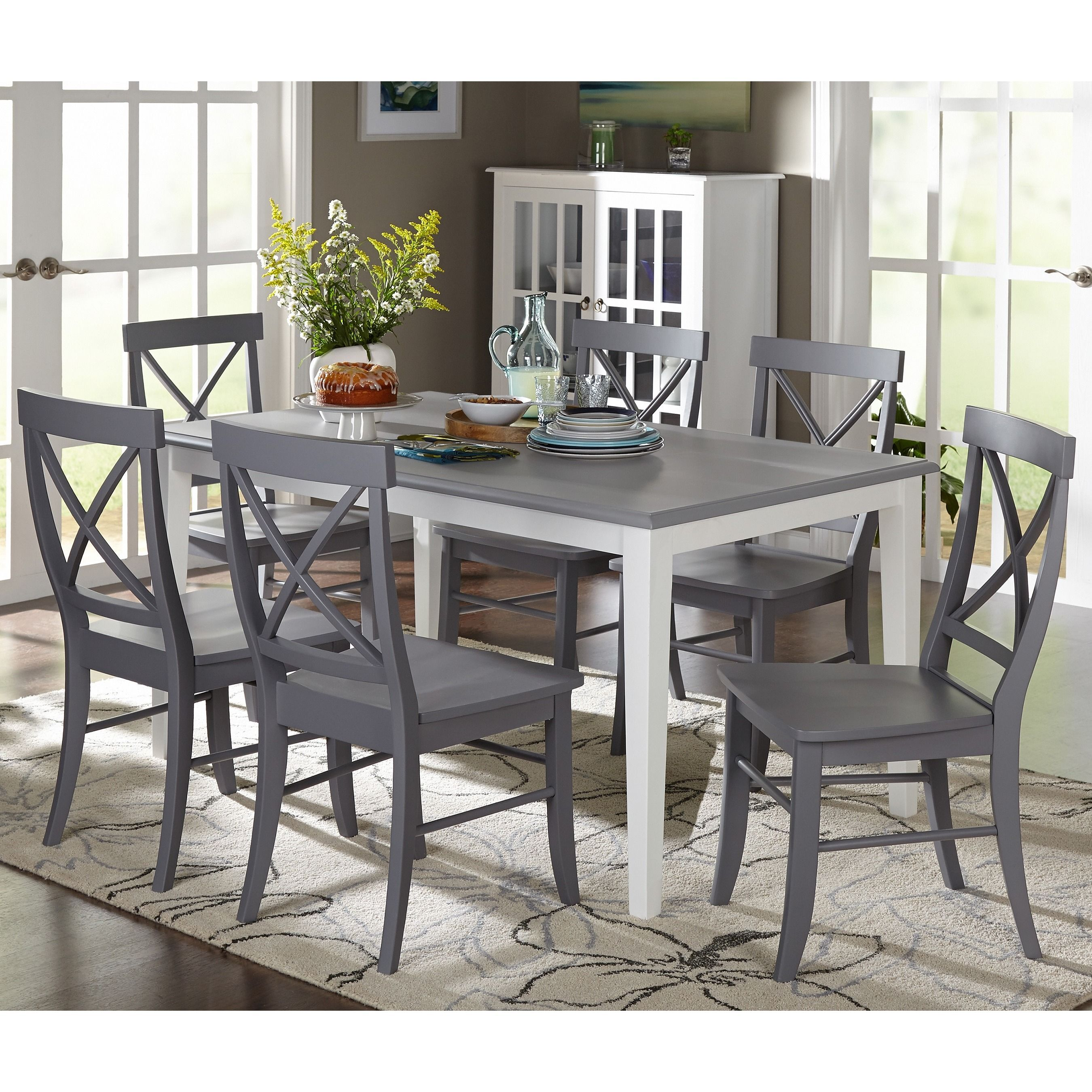 Best Simple Living 7 Piece Helena Dining Set Grey Gray 400 x 300