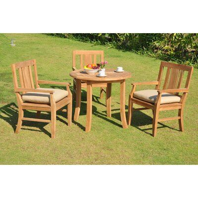 Rosecliff Heights Kevon Luxurious 4 Piece Teak Dining Set In 2020 Teak Outdoor Backyard Table Patio Dining