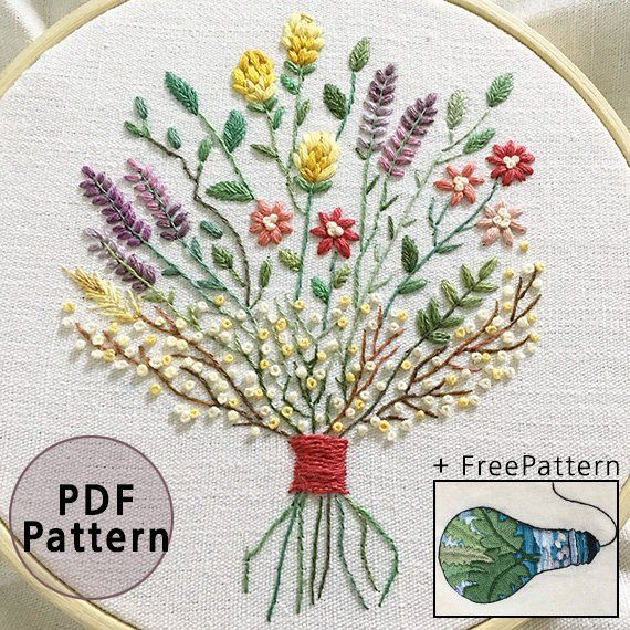 plus_ Bonus Free Pattern_Dried flower bouquet__PDF files_+Reversed Pattern_instant download files_Hand Embroidery Pattern_NewUpdatedGuide #articlesblog