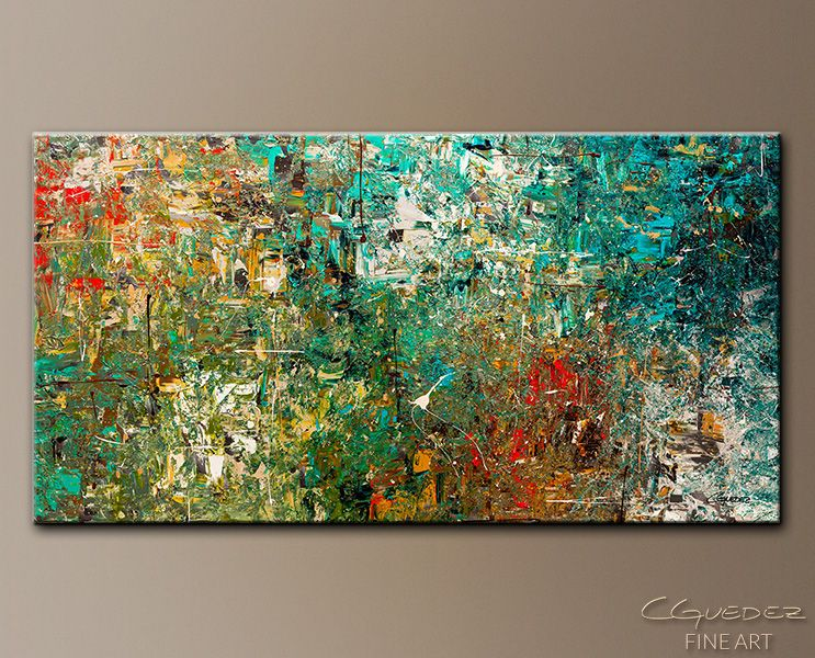 Huge large abstract art painting discovery modern colorful paintings for sale by carmen guedez gray teal and turquoise