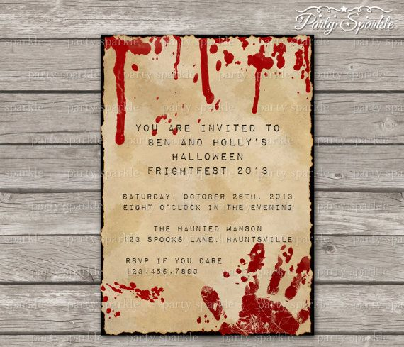 PRINTABLE Halloween Bloody Typewriter Frightfest Invitation – Custom Party Invitation