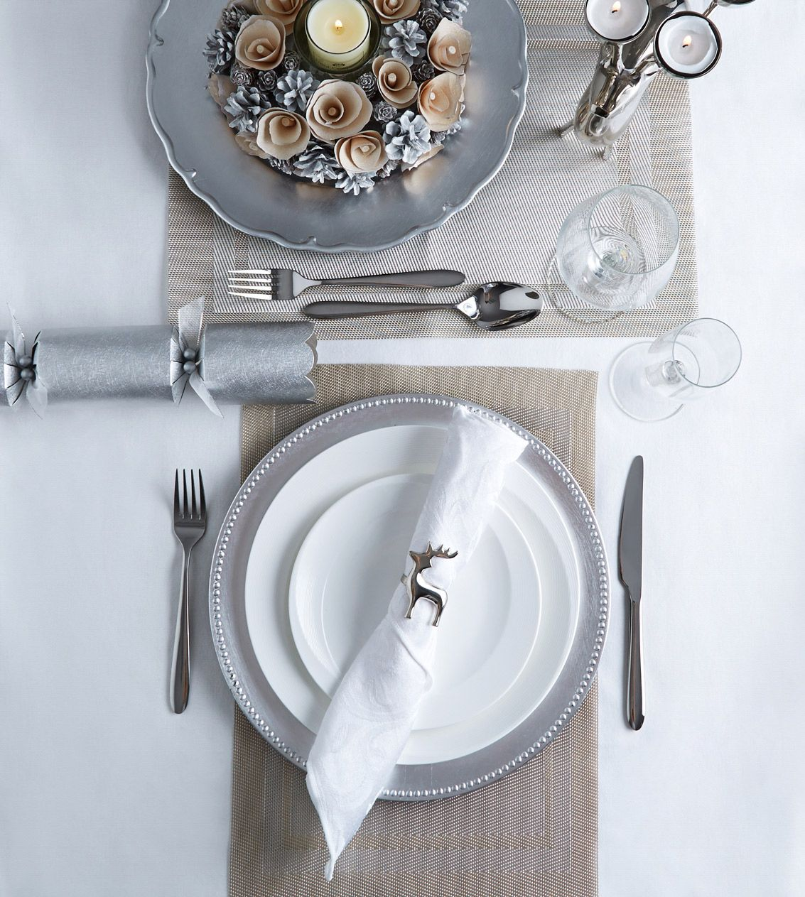 Dunnes Store Christmas Decorations: Classic Paul Costelloe Living Table Set In Wintry Grey And