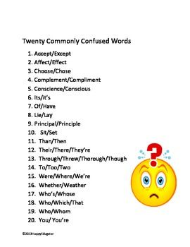 Confusing words test