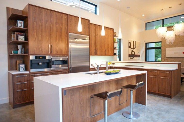 cocina madera encimera blanca Corian | Interiores para cocina ...