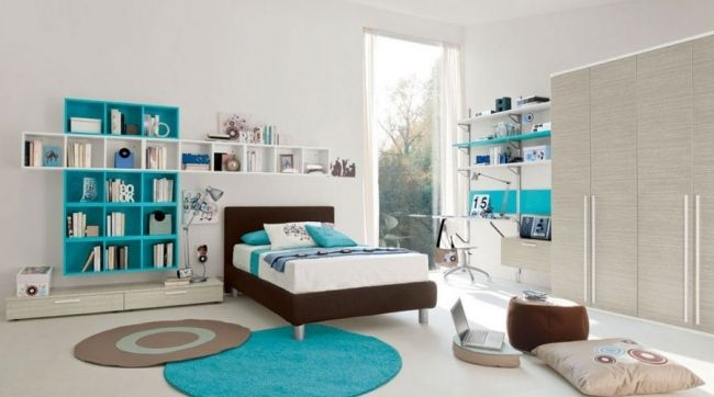 ideen teenager zimmer einrichten junge turquoise helles holz, Schlafzimmer entwurf