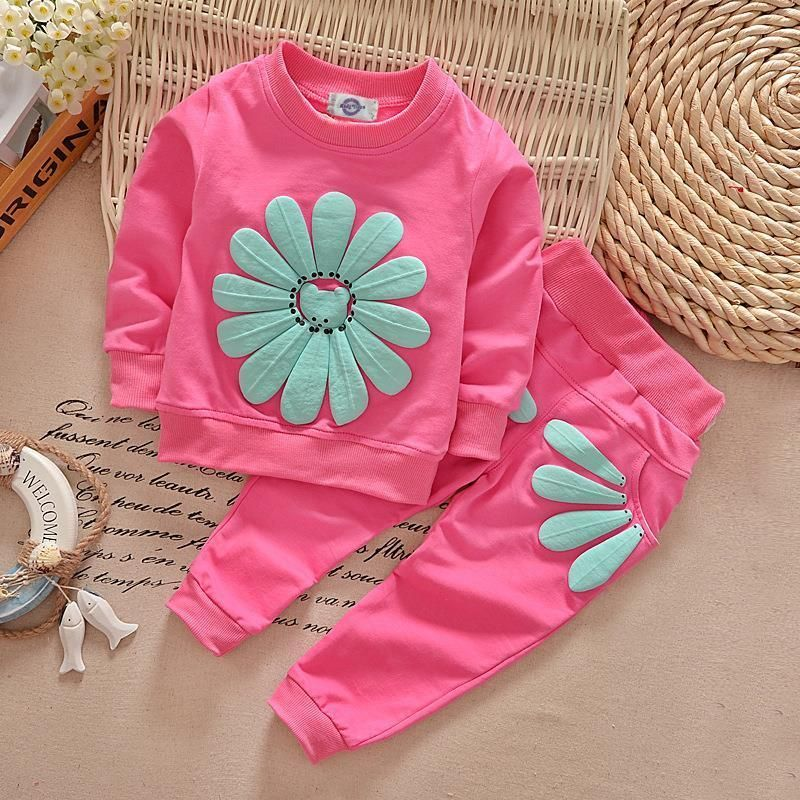 d9bb0fe17 New Kids Infant Baby Girls Clothes Sets Sun Flower Cute T-shirt Jumper Tops  + Pants Outfit Clothing Spring Fall 1 2 3 4 Years #FallFashion