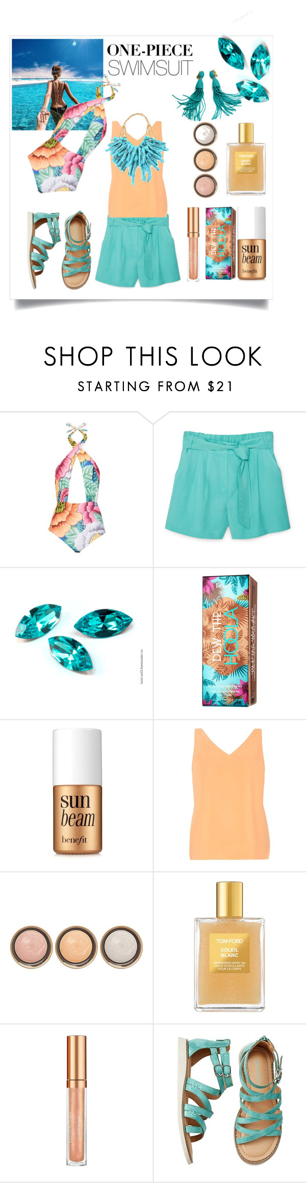 """""""One-piece swimsuit. Summer wave."""" by elena-viola-1 ❤ liked on Polyvore featuring Mara Hoffman, MANGO, Hoola, Benefit, Dorothy Perkins, By Terry, Tom Ford and Elizabeth Arden"""