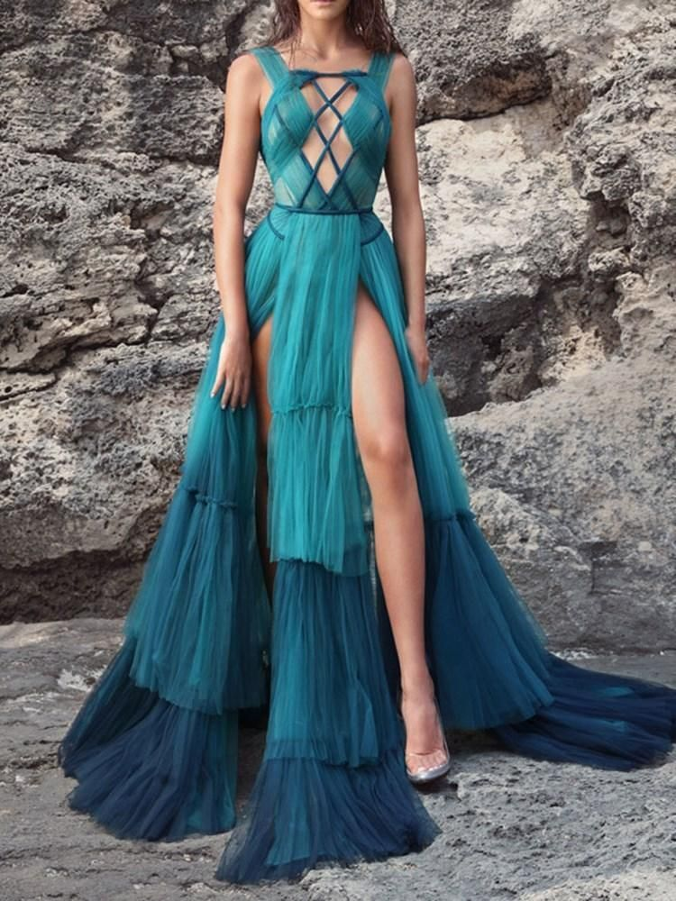 Photo of Floor-length slits sleeveless hedging A-line dress