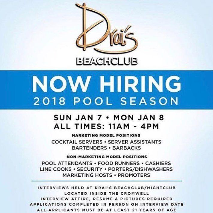 Vacancies at Tao Drais Las Vegas coming up wwwnightlifework - restaurant cashier job description resume