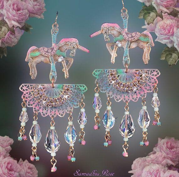 Pastel carousel horse chandelier earrings unicorn fantasy jewelry pastel carousel horse chandelier earrings unicorn by samadhiarose aloadofball Choice Image