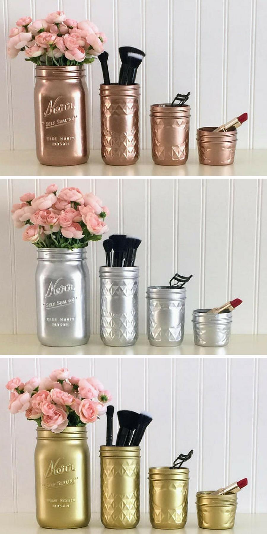 Organize your vanity with this beautiful mason jar set these mason jars come in metallic rose gold metallic gold and metallic silver