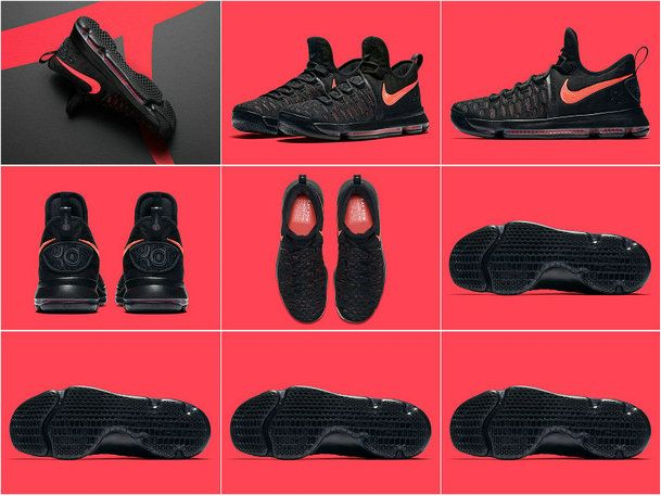 7e521895ae6d Aunt Pearl 881796 060 KD 9 Kevin Durant Shoes 2017 Black Hot Punch ...
