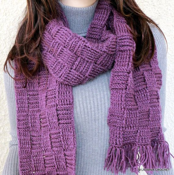 Crochet Scarf Pattern Checkered Scarf Long Scarf With Pocket
