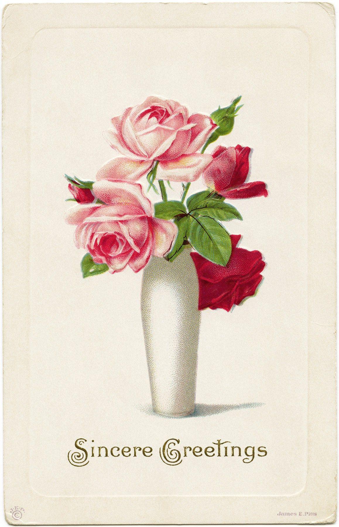 Vintage roses clipart roses in vase printable old postcard vintage roses clipart roses in vase printable old postcard flowers digital floral graphics reviewsmspy