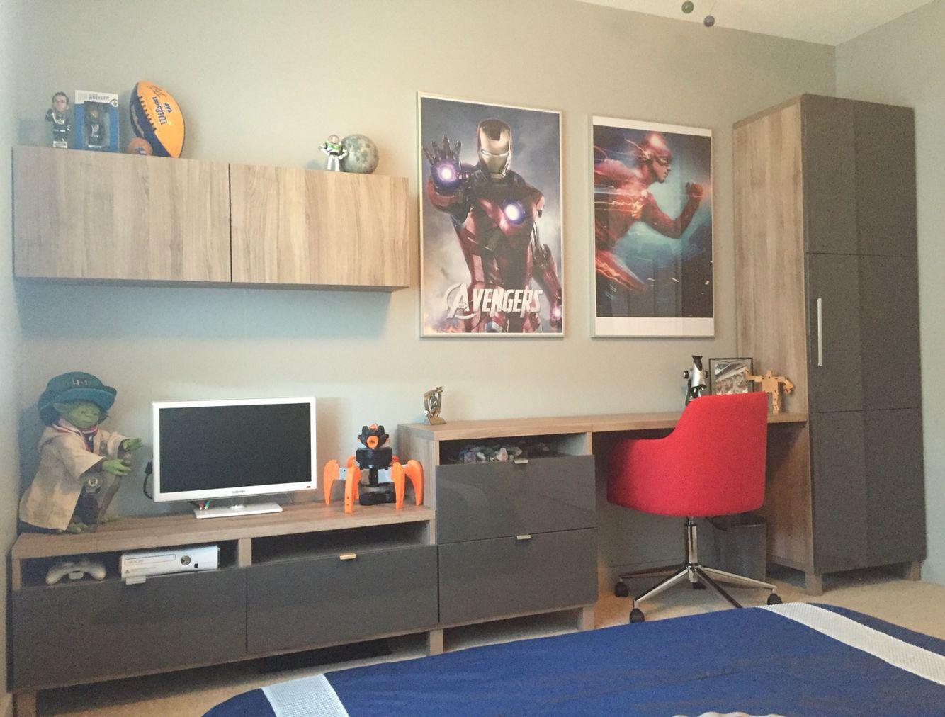 Ikea besta hack: customized with nerf gun cabinet custom width desk