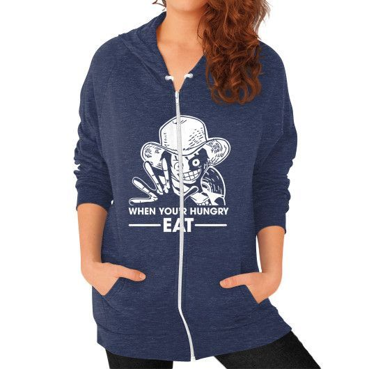 When you'r Hungry EAT - One Piece Luffy Zip Hoodie (on woman)
