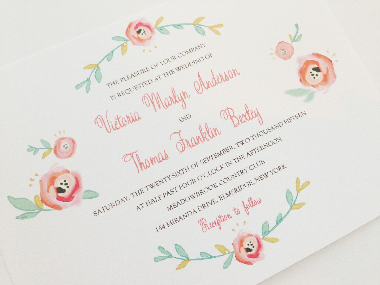 Blush Wedding Invitations - Charming, Soft Floral Theme - Watercolor ...