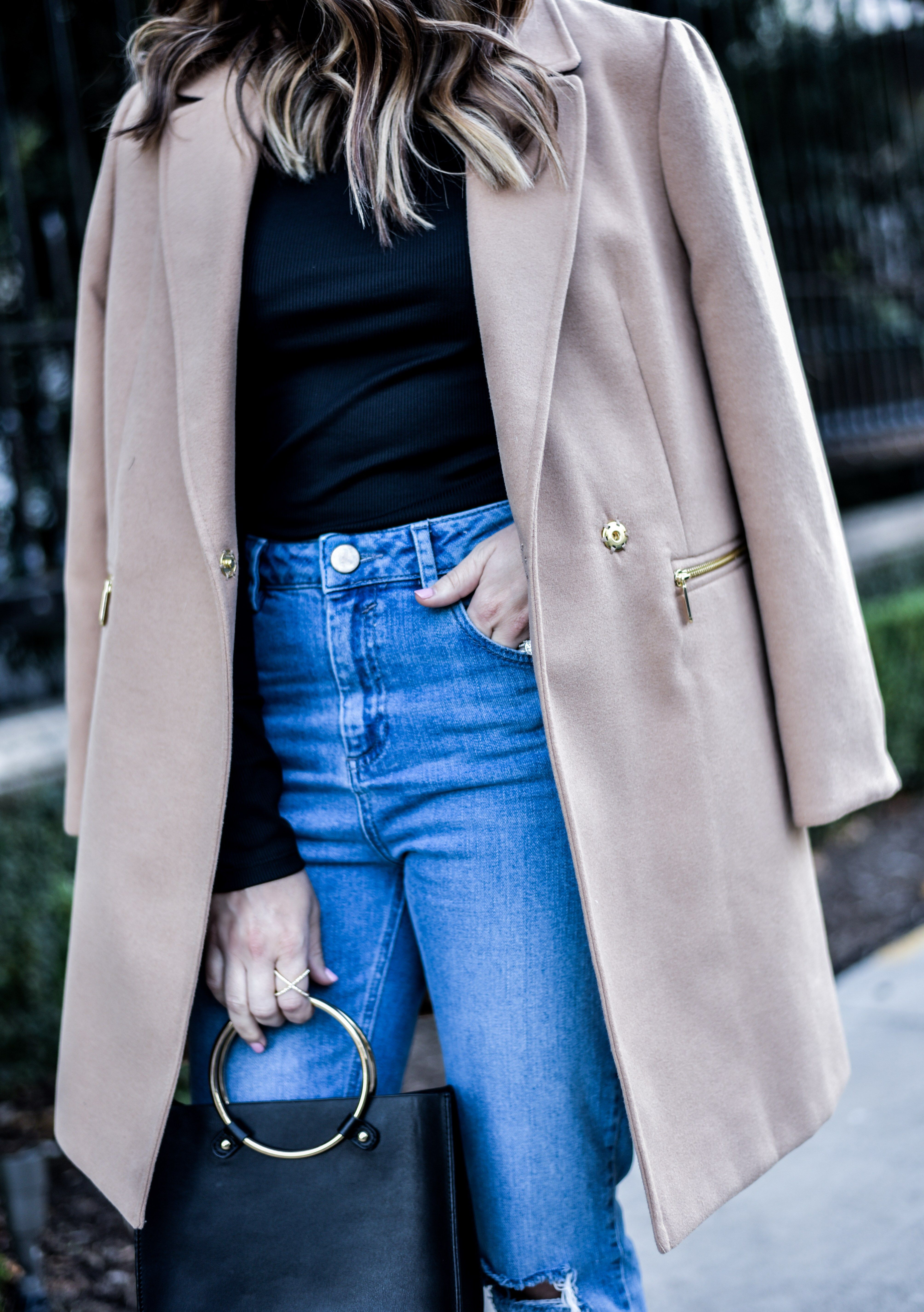The best streetstyle from 2016 | Loved styling this camel colored coat with mom jeans, http://www.flauntandcenter.com/