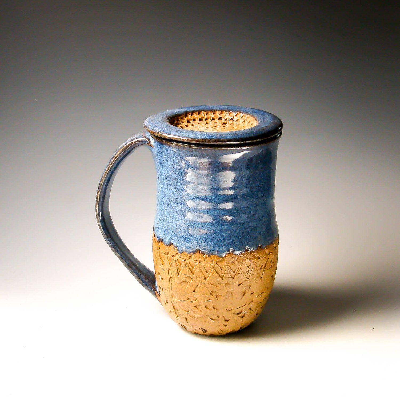 Denim Blue Coffee Mug with Lid, Handcarved Pottery Mug