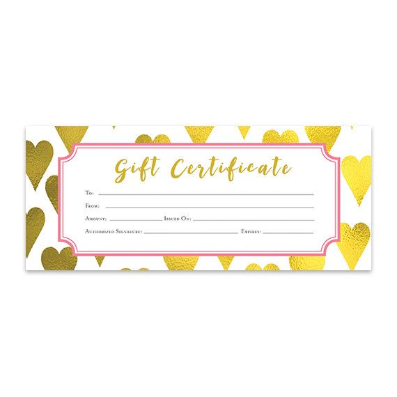 Gold Heart, Heart, Gold Foil, Gift Certificate, Download, Premade