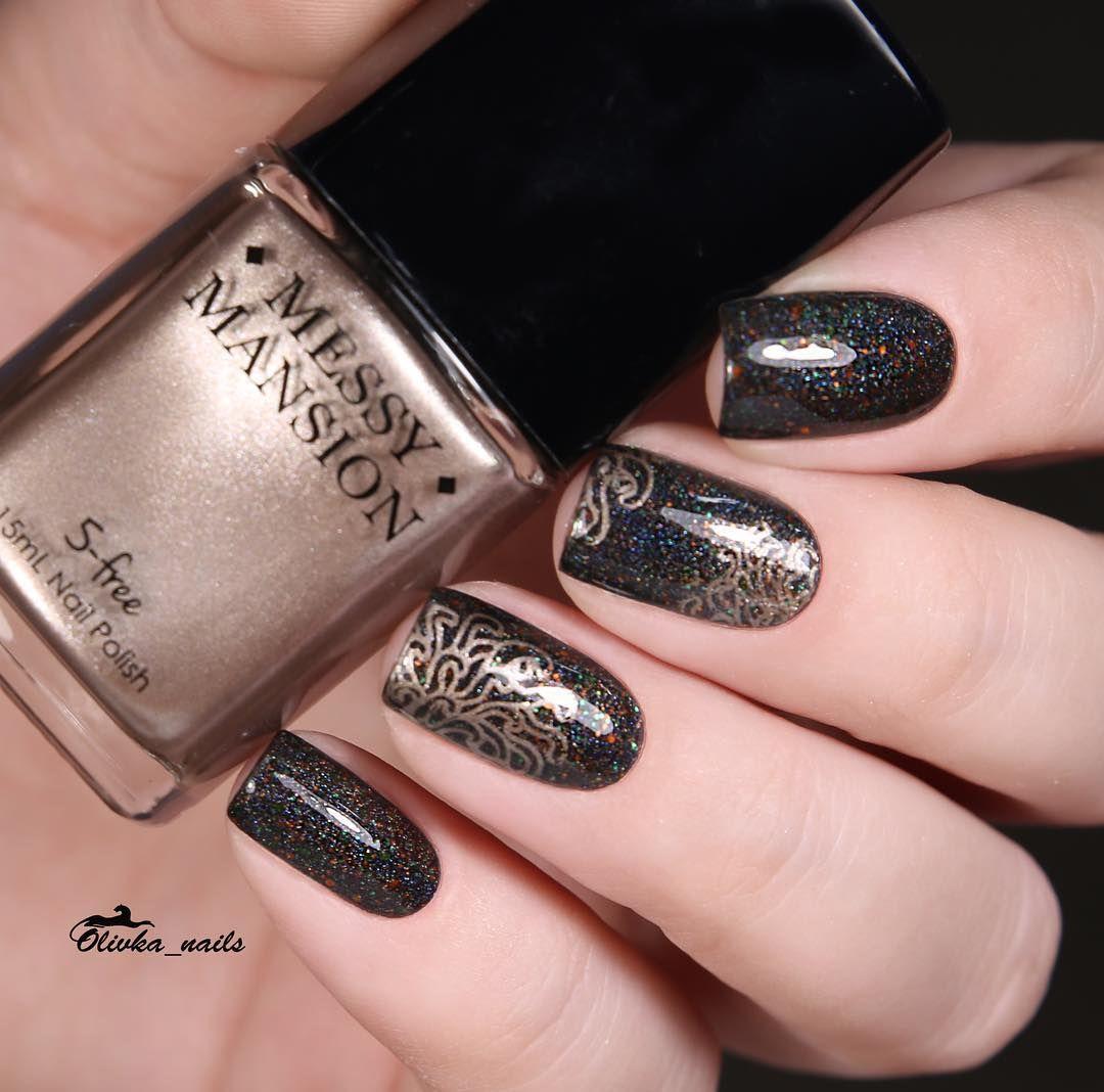 "I'm so loving these manis by @olivka_nails from Instagram. The gold accent makes a perfect finish! --------------------------------------- @cadillacquer Devil + stamping @messymansion Leadlight Lacquer A05 + stamping polish ""Jingle bells"" Пришли на обзор прекрасные плиточки и суперпигментированные краски от Messy Mansion Работать с ними одно удовольствие! Кадик тоже порадовал, надеюсь несколько дней в нем пробегать! #messymansion #stampingnailart #cadillacquer #indieswatch #indiepolish…"