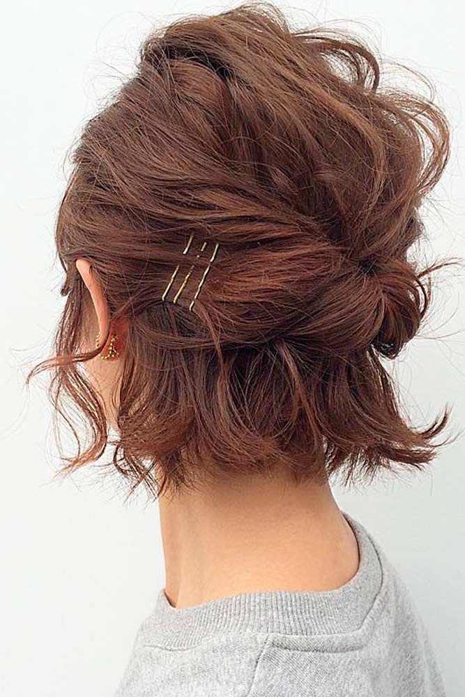 30 So Cute Easy Hairstyles For Short Hair Lovehairstyles Com Hair Styles Short Hair Updo Short Hair Styles