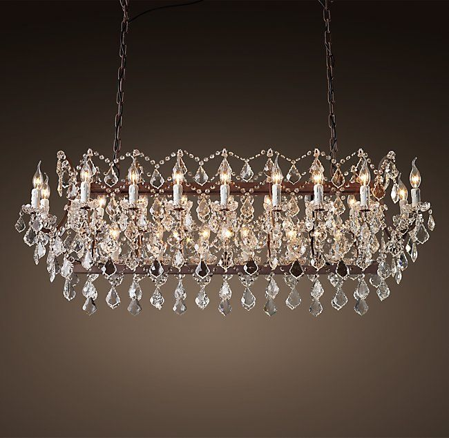 19th C Rococo Iron Clear Crystal Rectangular Chandelier