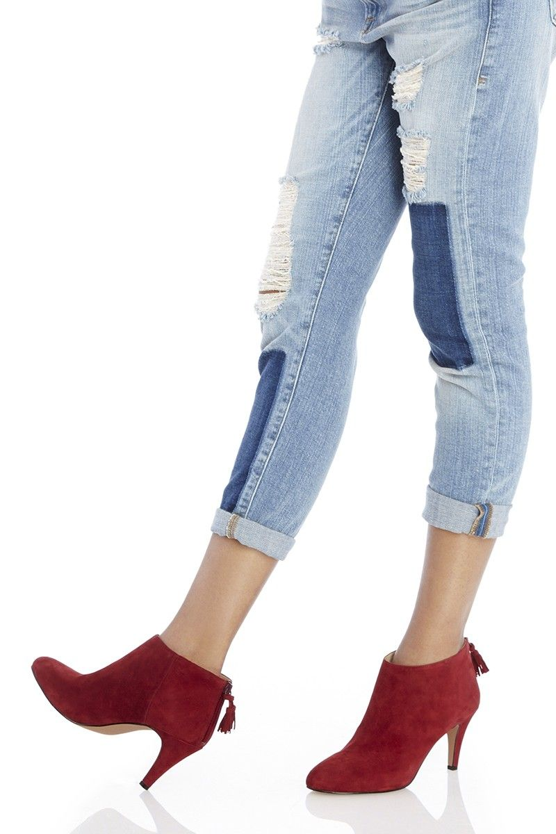 464c57faef487 Red suede heeled ankle booties with zipper tassels