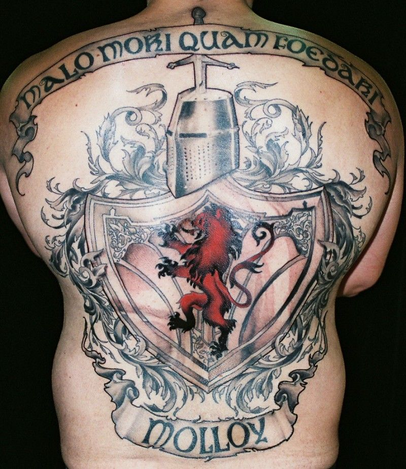 Scottish Lion Tattoo: Cool Family Scotland Crest Tattoo On Whole Back
