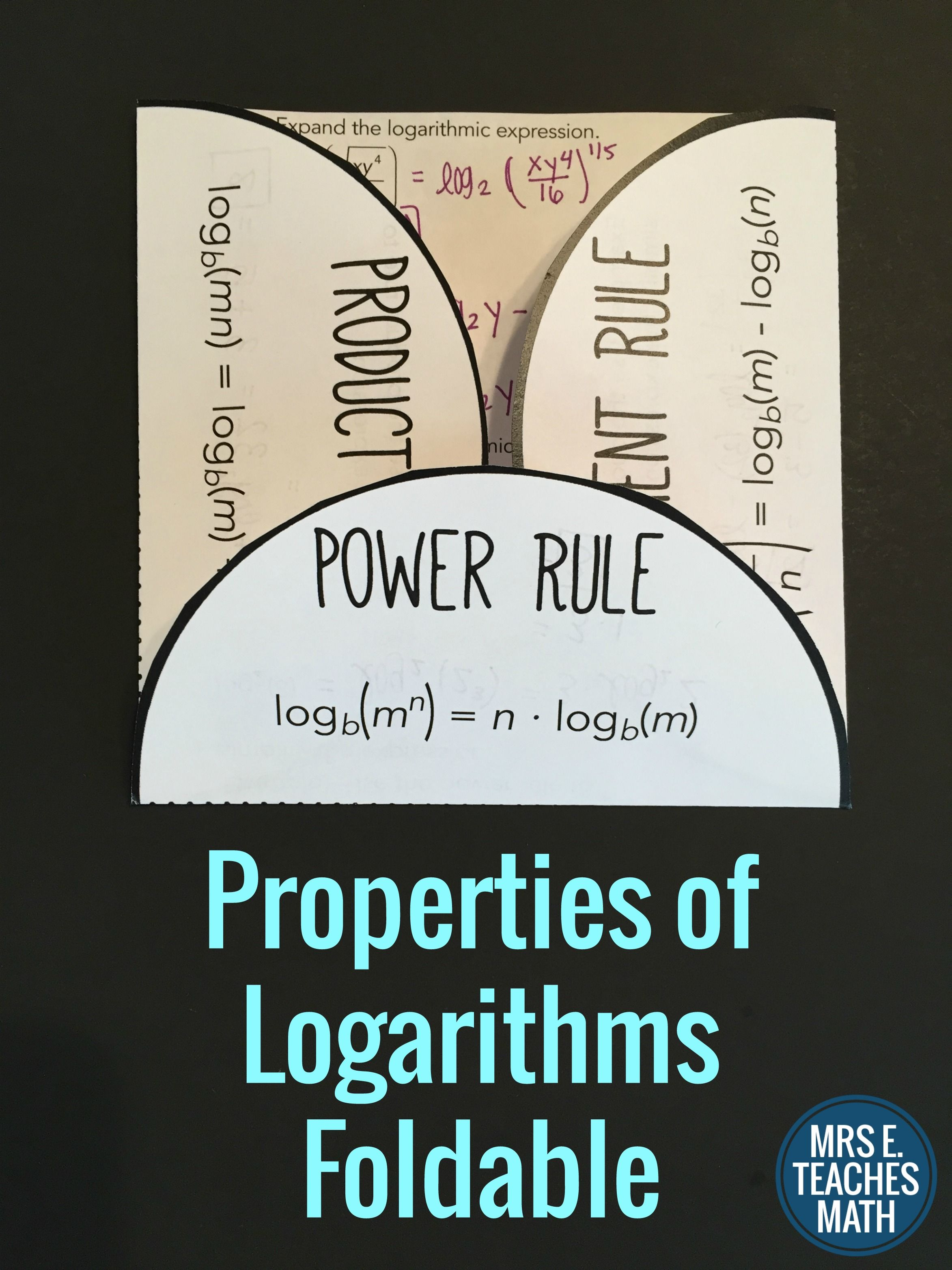 Properties Of Logarithms Foldable Algebra 2 Interactive
