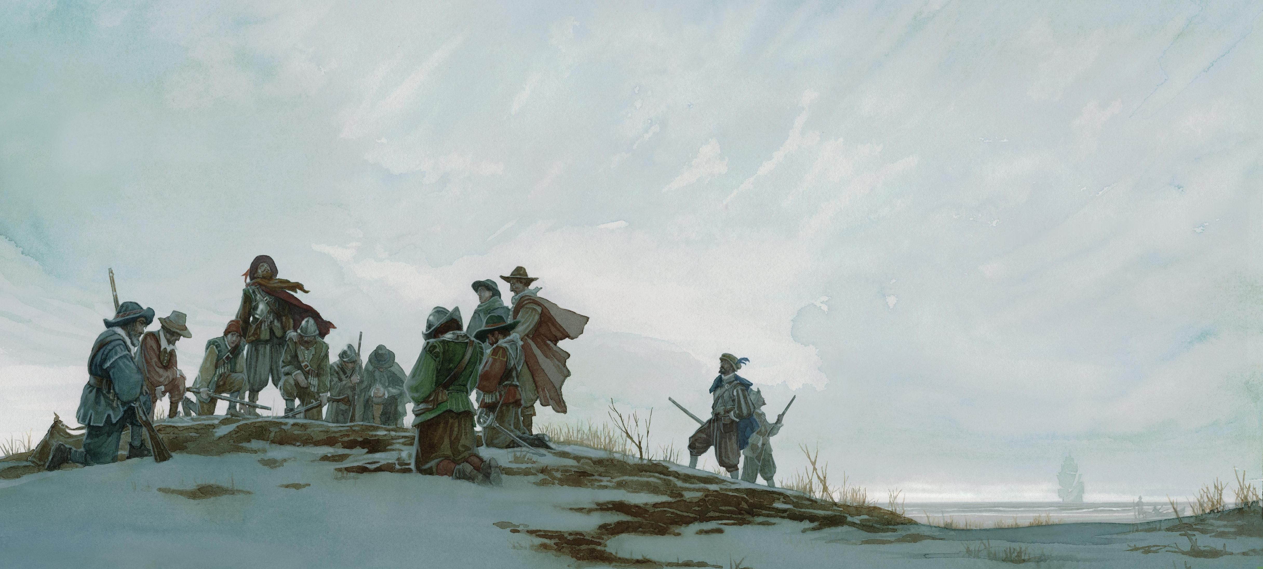 """The landing of the Pilgrim Fathers from """"The boy who fell"""