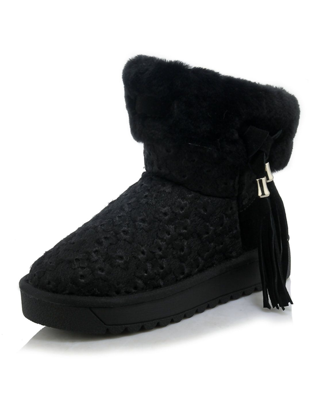 #AdoreWe NAIYEE Black Suede Cow Leather Toddler Lace Fringe Sweet Snow Boots - AdoreWe.com