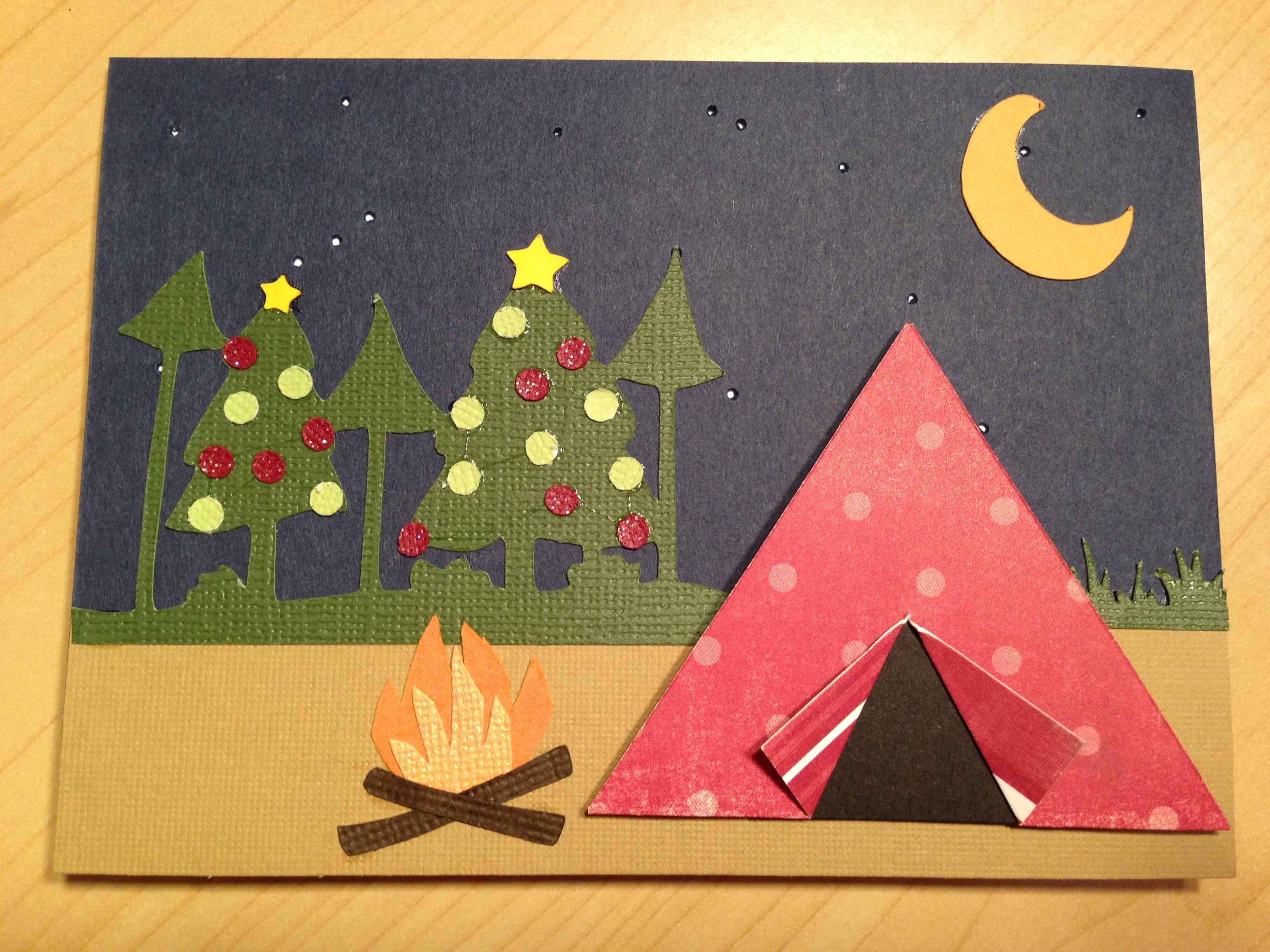 Camping Christmas Cards.I Was Asked To Make A Camping Themed Christmas Card I Love