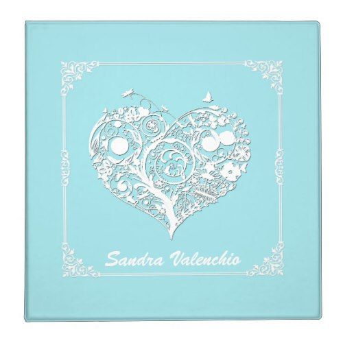 Elegant Turquoise & White Heart Wedding Organizer Binder