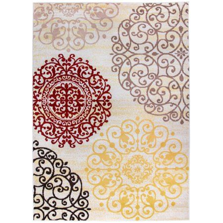 Contemporary Modern Floral Cream 6 6 Inchx9 Indoor Area Rug Size