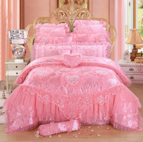 Pink Lace Princess Bedding Set Luxury, Princess Bed Set Queen