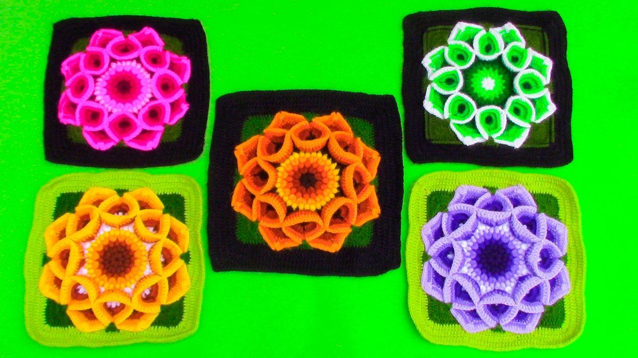 Cuadrado o muestra para colcha tejido a crochet paso a - Colchas de crochet paso a paso ...