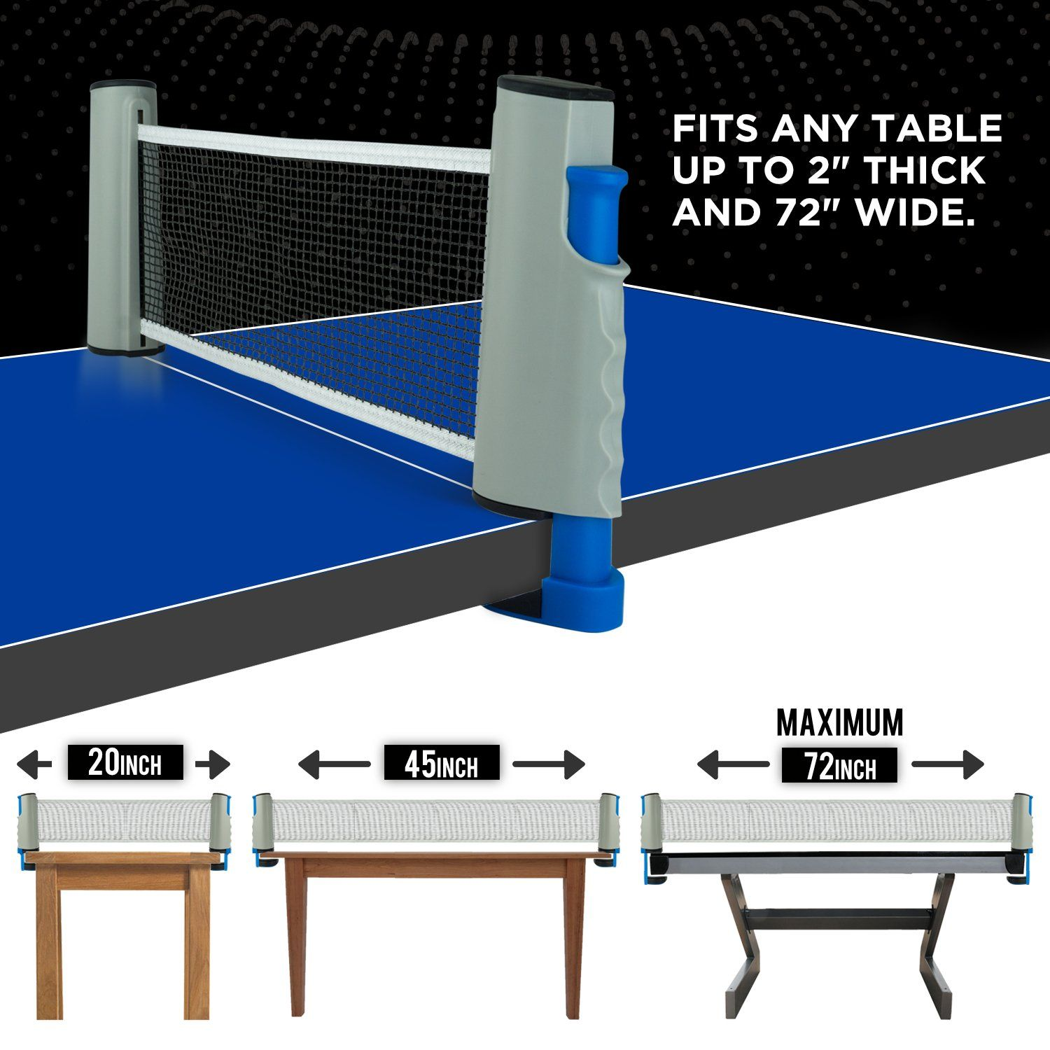 Amazon Com Portable Ping Pong Set Includes Retractable Net For Any Table 2 Paddles Rackets 3 Balls Premium Tra Table Tennis Net Table Tennis Tennis Nets