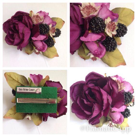 Picking Blue Berries Hairflower by GigisRetroCloset on Etsy