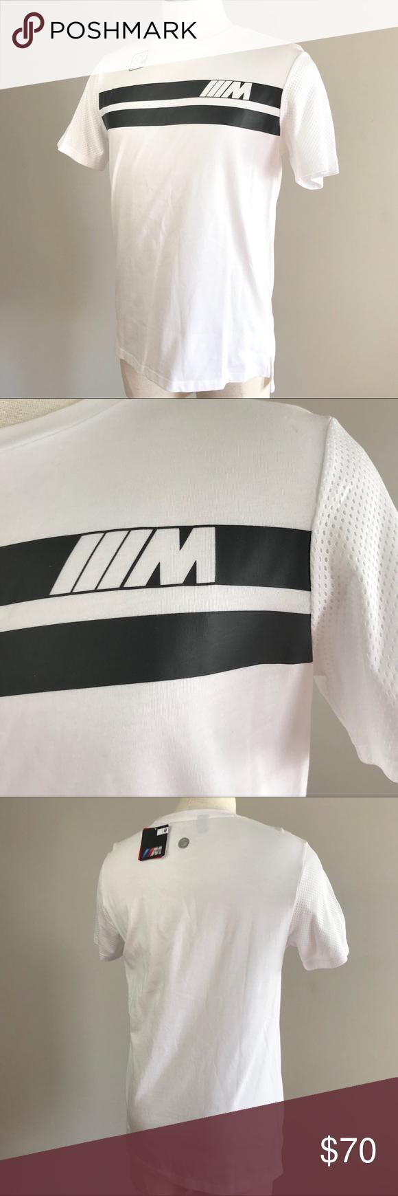 10c44c5a3c2 Puma BMW MSP M logo stripe graphic white mens tee Puma BMW Motorsport MSP M  logo graphic tee size medium 572767-02 Crew neck shirt with blue BMW M logo  on ...