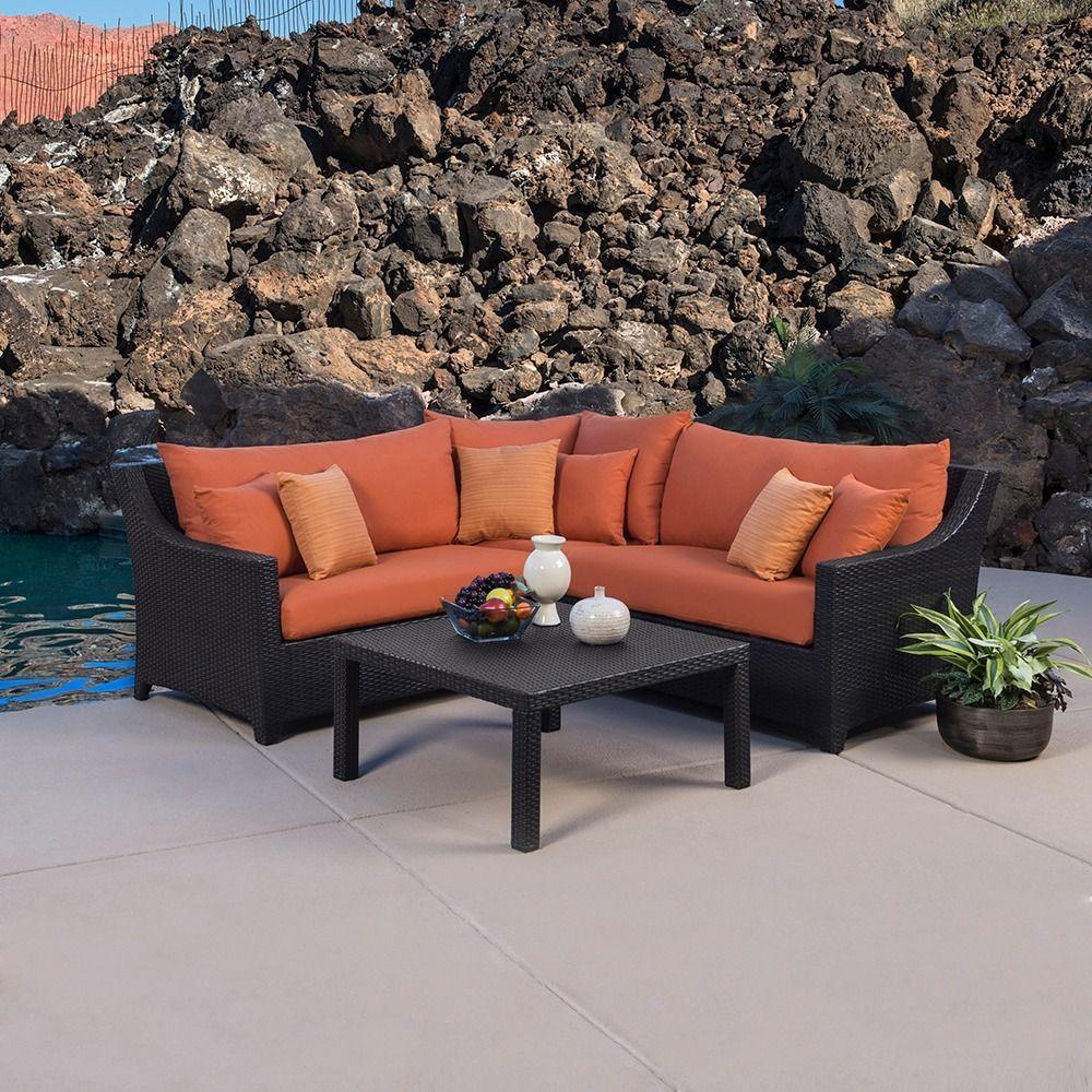 Genial RST Outdoor U0027Tikkau0027 4 Piece Corner Sectional Sofa And Coffee Table Patio  Furniture