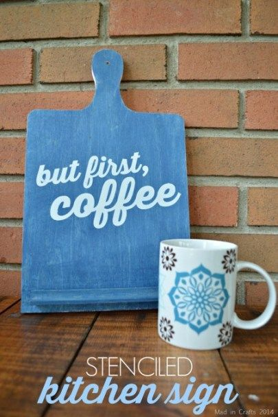 "STENCILED ""BUT FIRST, COFFEE"" SIGN – Mad in Crafts 