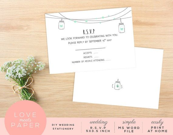 RSVP Wedding Card 5x35 Word Document R1017 by LoveMeetsPaper - stationery for word documents
