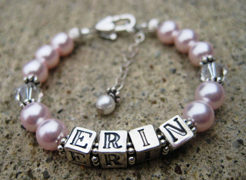 Baby/Little Girl Name Bracelet-  1st Communion, Flower Girl,Baptism, Birthday  Swarovski Pearl/Crystal Sterling Silver. $38.00, via Etsy.