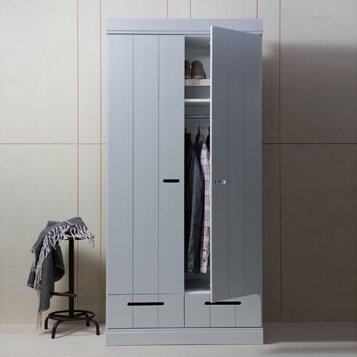Armoire penderie en pin massif 2 portes 2 tiroirs Connect -béton ...