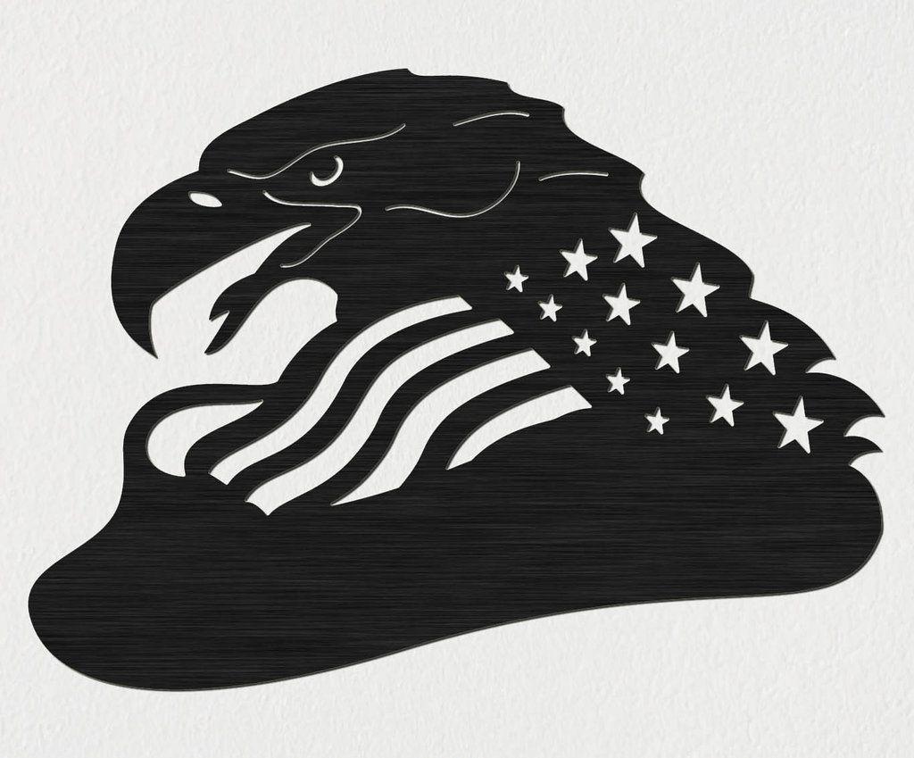 Free Bald Eagle of USA FlagDXF files Cut Ready CNC