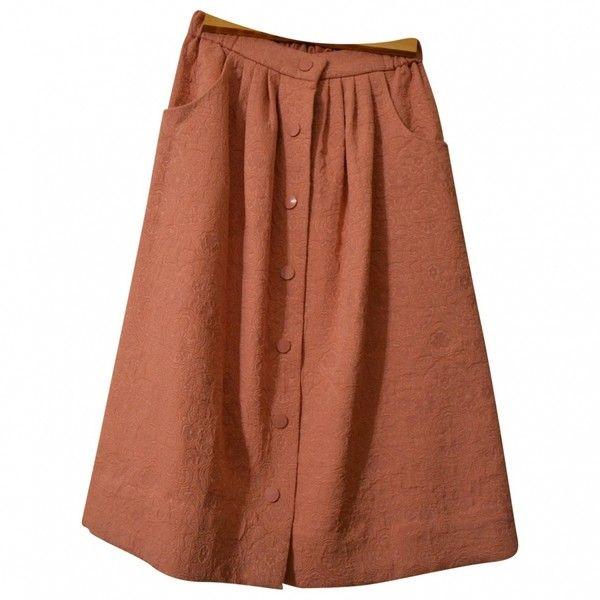 PINK BROCADE MIDI SKIRT ASOS (145 NOK) ❤ liked on Polyvore featuring skirts, bottoms, pink skirt, pink knee length skirt, brocade skirt, calf length skirts and asos skirts