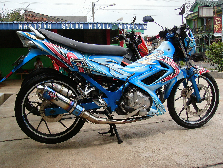 Kumpulan Modifikasi Motor Satria Fu Biru Hitam Terbaru