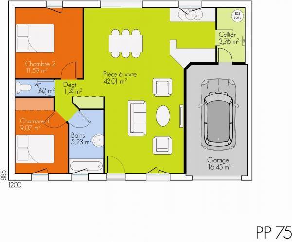 Modèle et plan de maison Open Plain Pied par le constructeur MAISONS